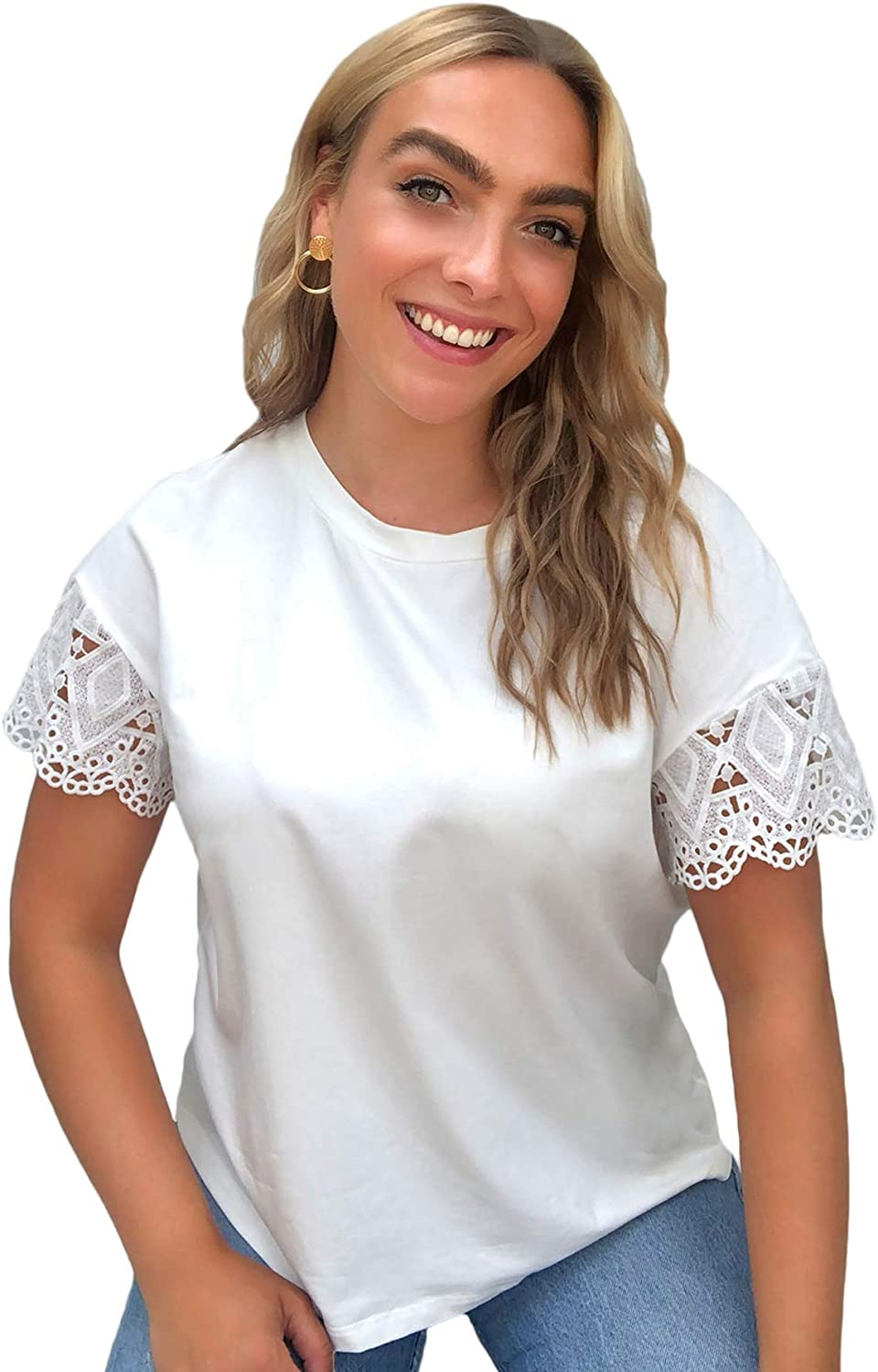 SheIn Women's Plus Round Neck Short Sleeve T Shirt Lace Cut Out Solid Tee Tops