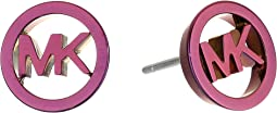 Plum Plated Stud MK Logo Earrings