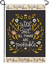 Shmbada with God All Things are Possible Burlap Garden Flag Double Sided Premium Fabric Religious Christian Faith Outdoor House Yard Lawn Farmhouse Porch Patio Decorative Flag 12 X 18 Inch