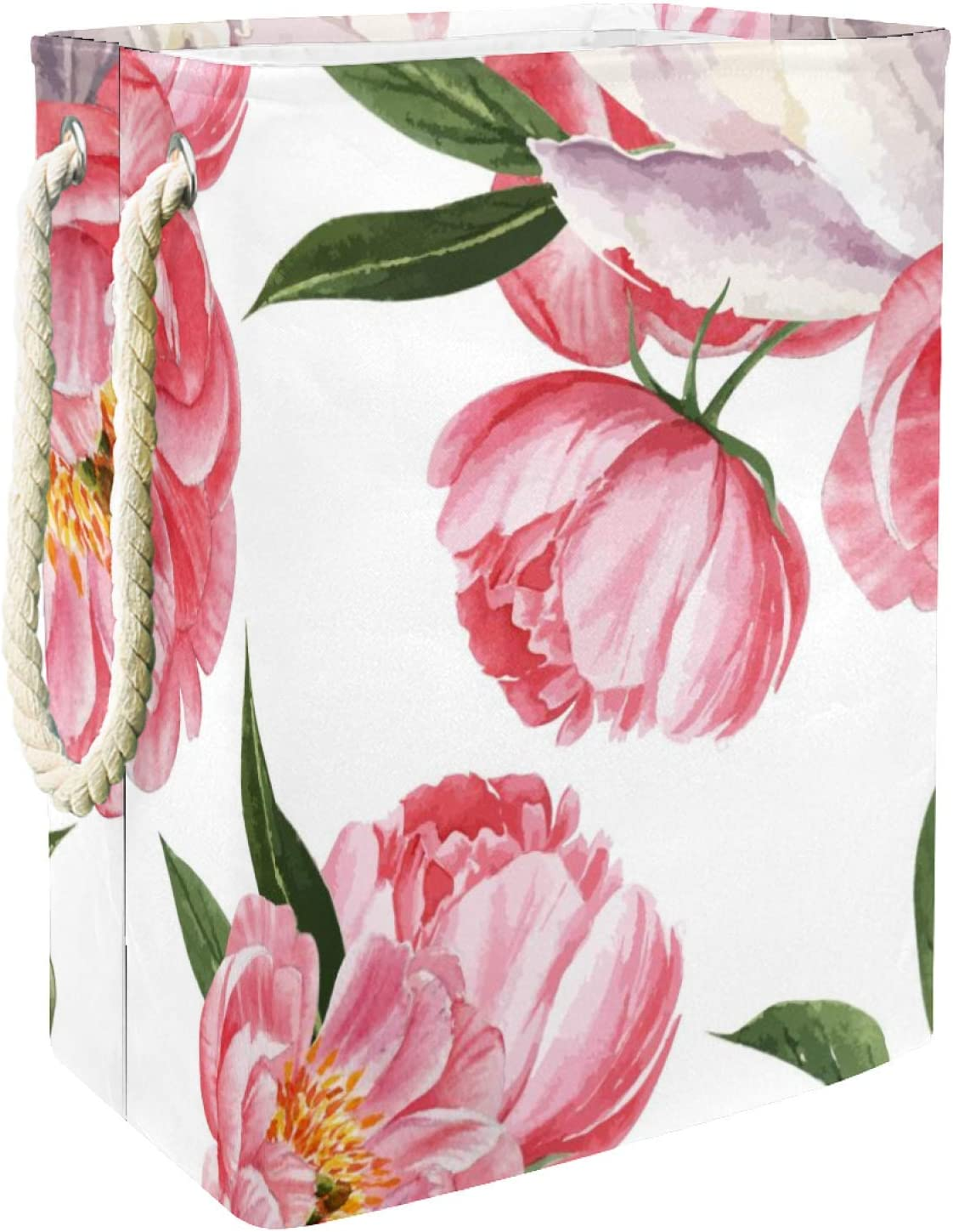 National products Inhomer Laundry Hamper Peony Flowers We OFFer at cheap prices Botanical Watercolor Pink W