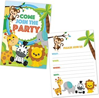 Safari Jungle Zoo Animals Party Invitations for Kids Birthday or Baby Shower - (20 Count with Envelopes)