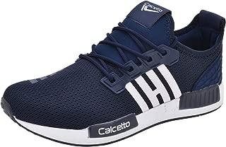calcetto Mens Navy Blue White Nylon Mesh Sport Shoes