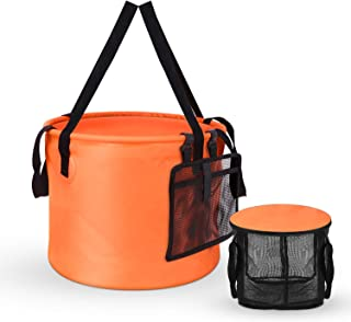 [2019 Latest Version] Collapsible Bucket Compact 8 Gallon Portable Folding Water Container  Wash Basin with Washing Mesh Basket for Traveling Hiking Fishing Boating Gardening Camping