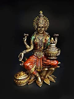 CraftVatika Lakshmi Devi Idol Statue for Home Puja Goddess Laxmi Idols Showpiece for Temple Pooja Room Diwali Decoration G...
