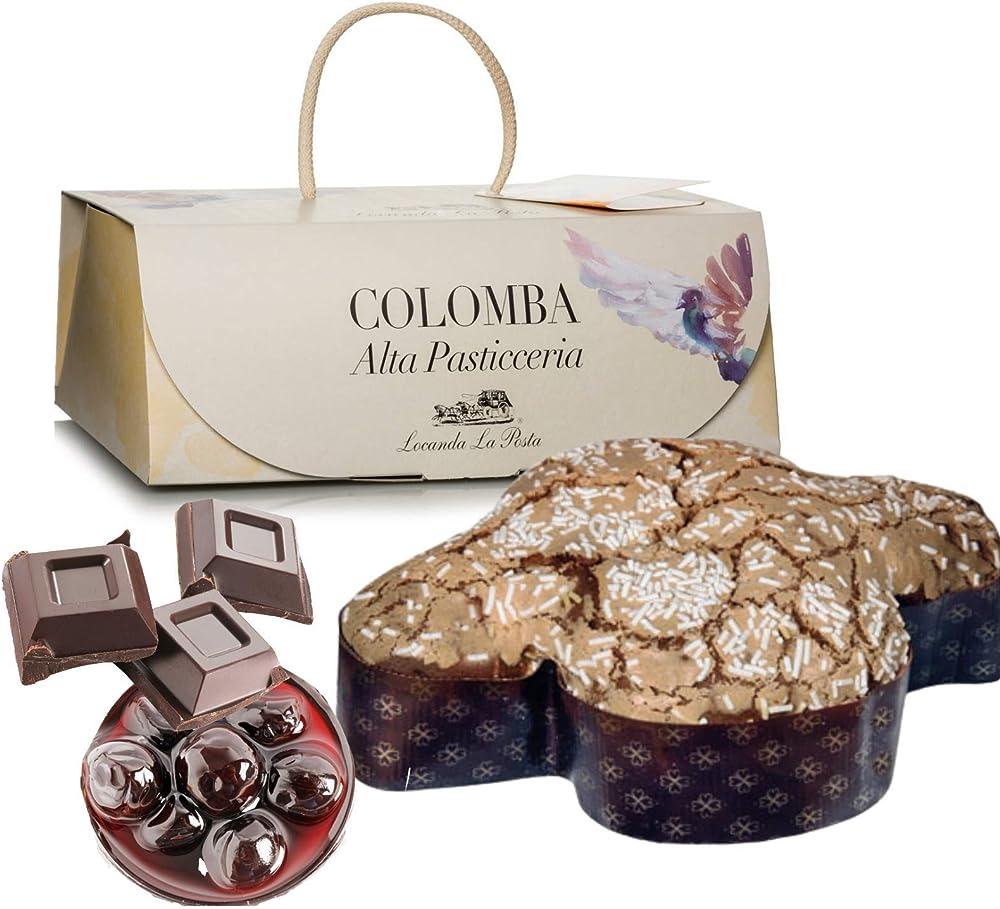 Colomba artigianale amarena e cioccolato con lievito madre, alta pasticceria,1 kg,elegante confezione regalo