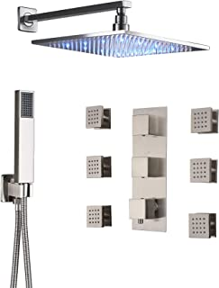 Rozin Bathroom 3-way Thermostatic Shower Diverter Mixer Control 12-inch LED Rainfall Showerhead Massage Body Sprays with Handheld Shower Brushed Nickel
