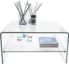 Homely - Mesa de Centro de Cristal Curvado y Templado de una Pieza con revistero Murano - 80x80x40