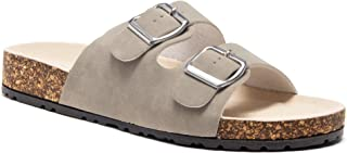 Softey Women's Comfort Buckled Slip on Sandal Casual Cork Platform Sandal Flat Open Toe Slide Shoe
