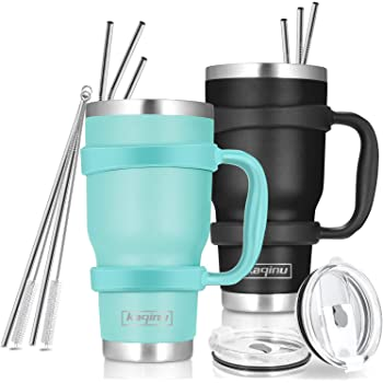 Toopify 30oz Stainless Steel Insulated Teal Tumbler Travel Mug with Straw Slider Lid Double Wall Vacuum Cleaning Brush