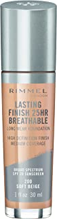 Rimmel Lasting Finish Breathable Foundation, Soft Beige, 1 Fluid Ounce