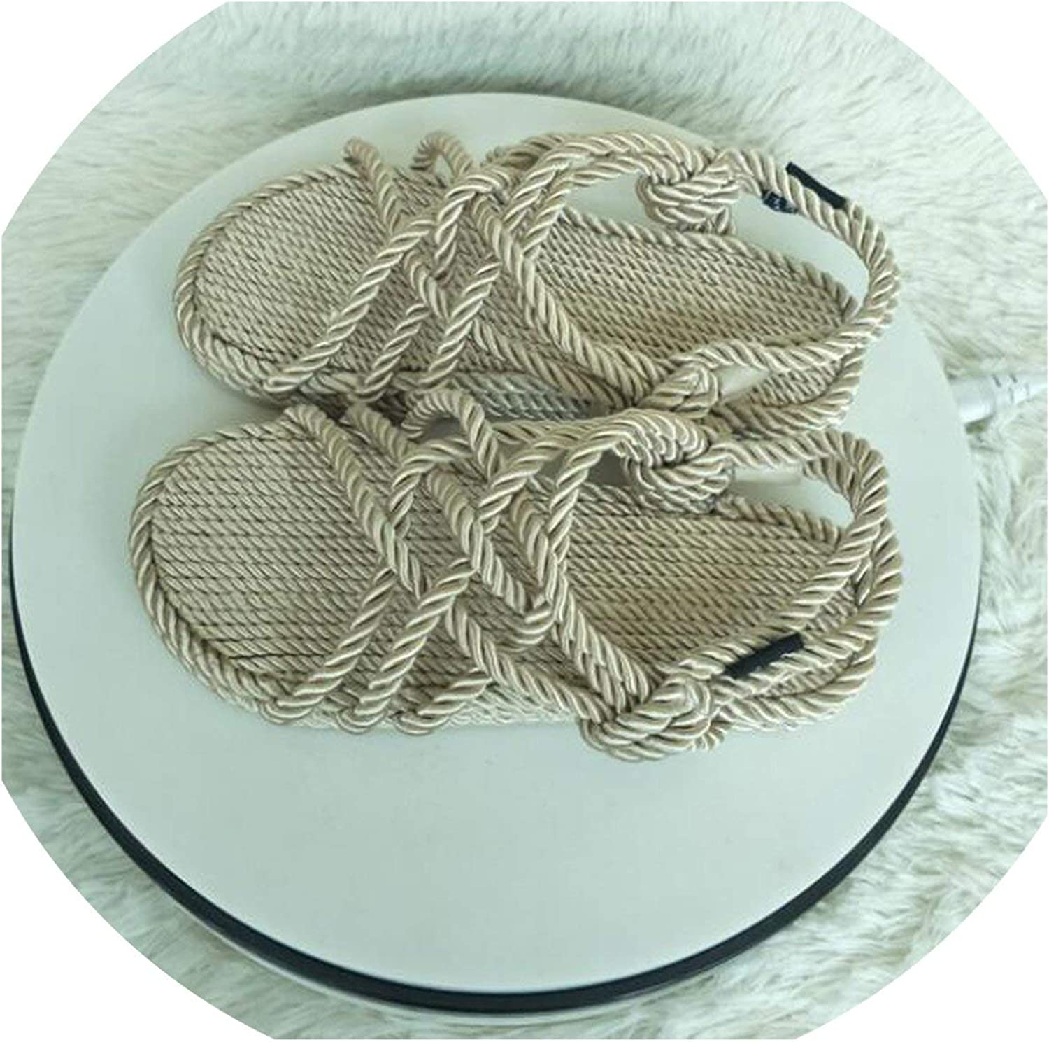 MiniYoo Straw Lazy shoes Women Flat Fiberflax Hand Woven Sandals Peep Toe Beach shoes Twine Cane Knot Rome shoes