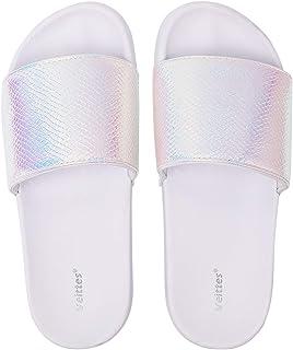 Sponsored Ad - Veittes Kid's Girl Boy Pool Slide Sandals, Slip On Bling Bath Shower Beach Sliders for Younger Older Children.