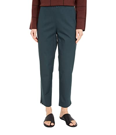 Eileen Fisher Organic Cotton Stretch Twill Mid-Rise Ankle Pants (Forest Night) Women