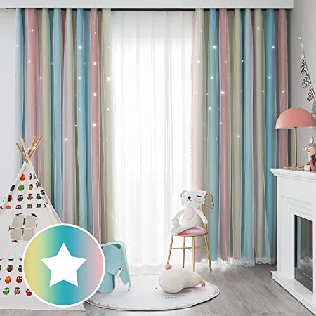FlySheep Star Cutout Blackout Curtains for Kids Girls Bedroom - Double Layer of Fabric & Tulle Star Cut Out Sparkle Gradient Stripe Window Curtains, 1 Panel (Rainbow Stripes, 42x63 inches)