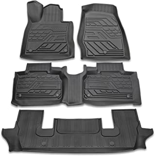 Richeer Floor Mats Compatible with 2020 2021 Explorer 6 and 7Passenger,Custom Unique Black Heavy Duty TPE All Weather Protection Floor Mat Liner 1st, 2nd and 3rd Row Full Set