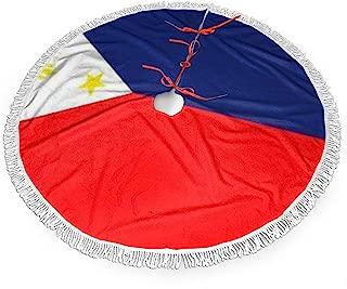 BNC Philippine Island Flag Rectangle Sticker Yuboo Christmas Tree Skirt, Xmas Tree Holiday Decorations Look Very Durable