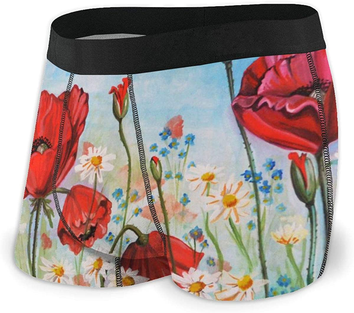 Mens Boxer Briefs Watercolor Poppies Floral Flowers Breathable Underwear