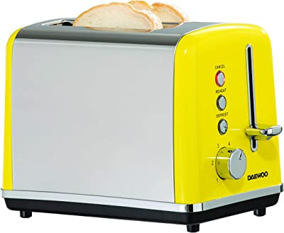 Daewoo SOHO 2 Slice Toaster with Defrost, Reheat and Cancel Function, Variable Browning Controls and Removable Crumb Tray- Yellow