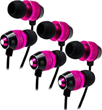 Bastex Universal Hot Pink Earphone/Ear Buds (3 pk),3.5mm Stereo Headphones in-Ear,Tangle Free Cable, with Built-in Microphone Earbuds for iPhone iPod iPad Samsung Android Mp3 Mp4 and More