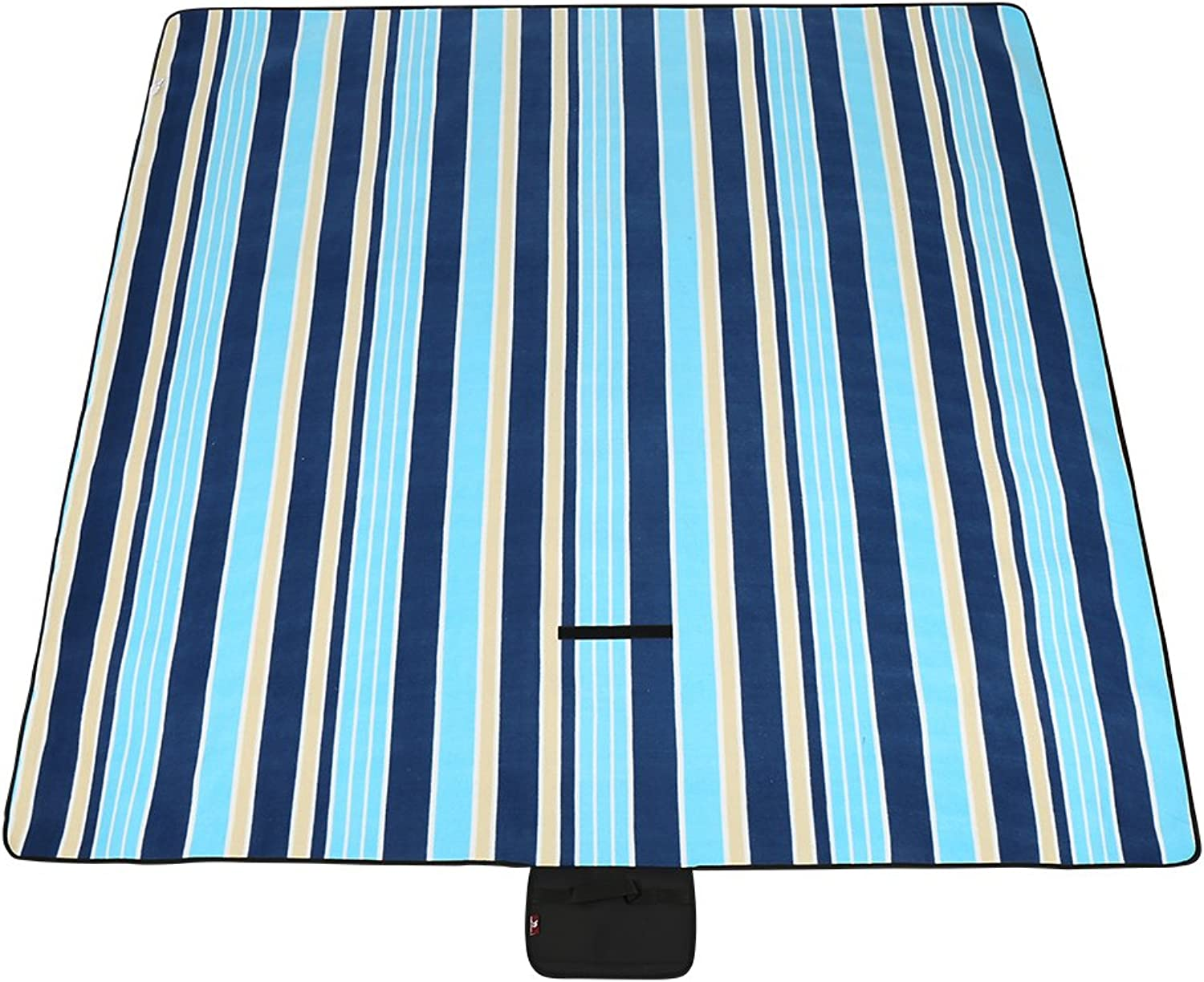 Camel Extra Large Outdoor WaterResistant Foldable Picnic Blanket Mats Tote with Fall Winter Stripe for Camping Beach Hiking Grass Travel(59 x53 )