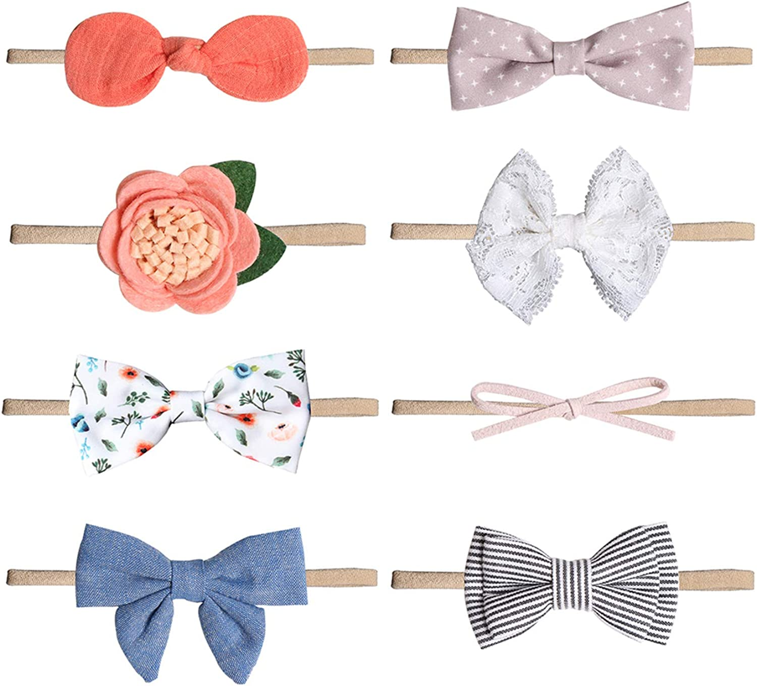 Durio 8 Pack Baby Girl Headbands Hair Bows Clips Ribbon Lined Clips Tiny Hair Clips for Newborn Infant Toddler Kids