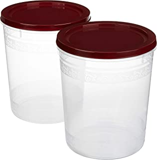 Amazon Brand - Solimo 2-Piece Kitchen Storage Container Set, 7.5 litres, Brown Lid