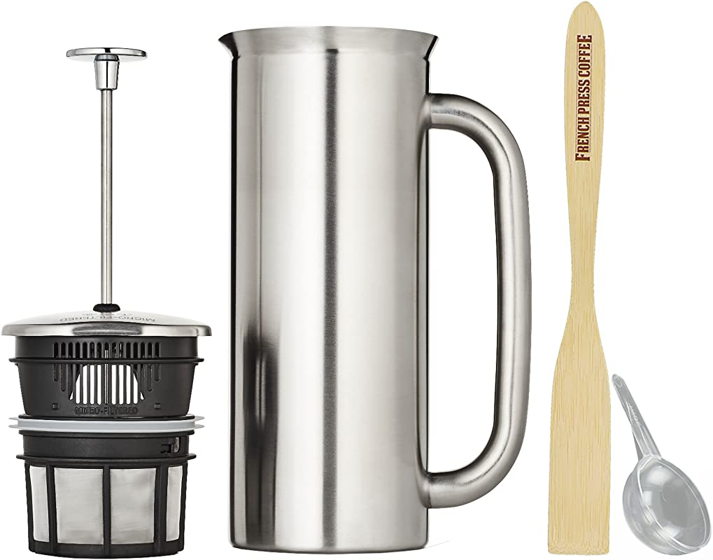 Espro Press P7 Stainless Steel French Press Double Wall Vacuum Insulated 6 8 Cups 32 Ounce Brushed Bundle With Handcrafted Bamboo Paddle Coffee Scoop
