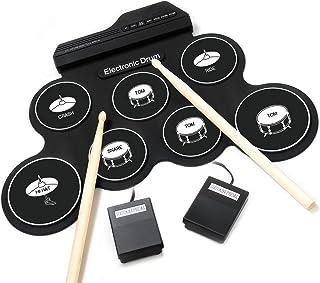 iWord 電子ドラムセット 電子ドラム 7音色 8デモ曲 7個ドラムパッド メトロノーム機能 外部音源入力可能 ペダル スティック付き 練習/初心者/入門/子供/おもちゃ どこでもドラム
