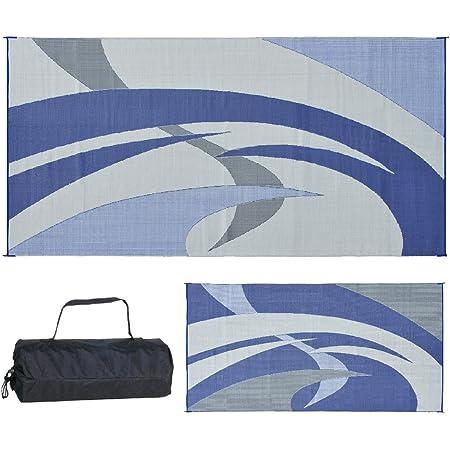 reversible mats 159183 blue grey 9 feet x 18 feet rv patio mat