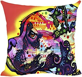 KENETOINA Funny Boxer Pet Dog Pillow Covers Colorful Animals Sofa Bed Decorative Art Dog Custom Canvas Pillow Cases Good Gift 18