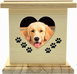 YSF Handmade Really Wood Wooden Pet Dog cat Urns Photo Pet Memorial Urn Casket for Ashes Small Size Box.