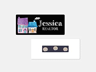 Personalized Magnetic Name Badge/Real Estate Watercolor Houses/Custom Name Tag - 1.25