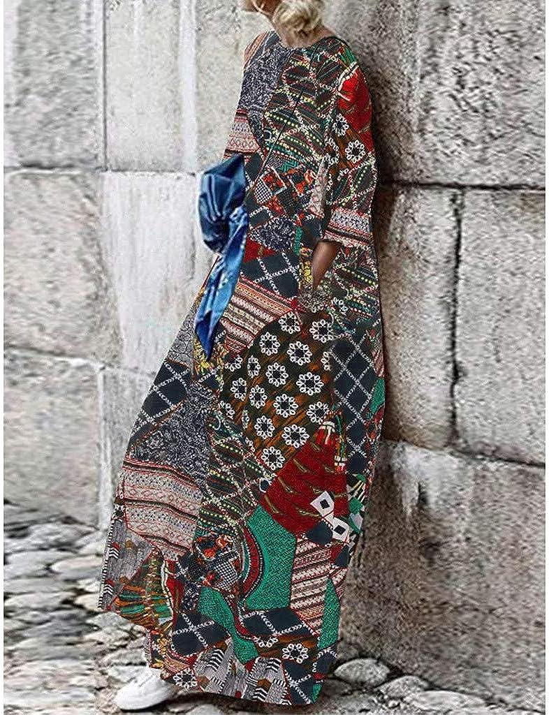 Startview Women Casual Boho Print Long Sleeve Kaftan Dress Loose Long Maxi Dress