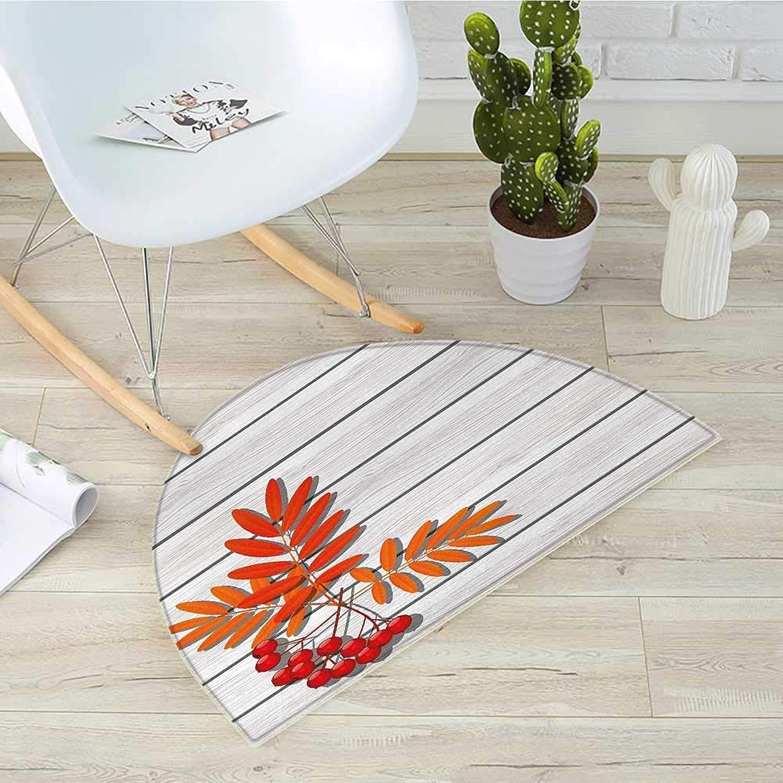 Rowan Semicircle Doormat Graphic Design of Autumnal Foliage on Wooden Planks Freshness Growth Ecology Halfmoon doormats H 39.3  xD 59  orange and Grey