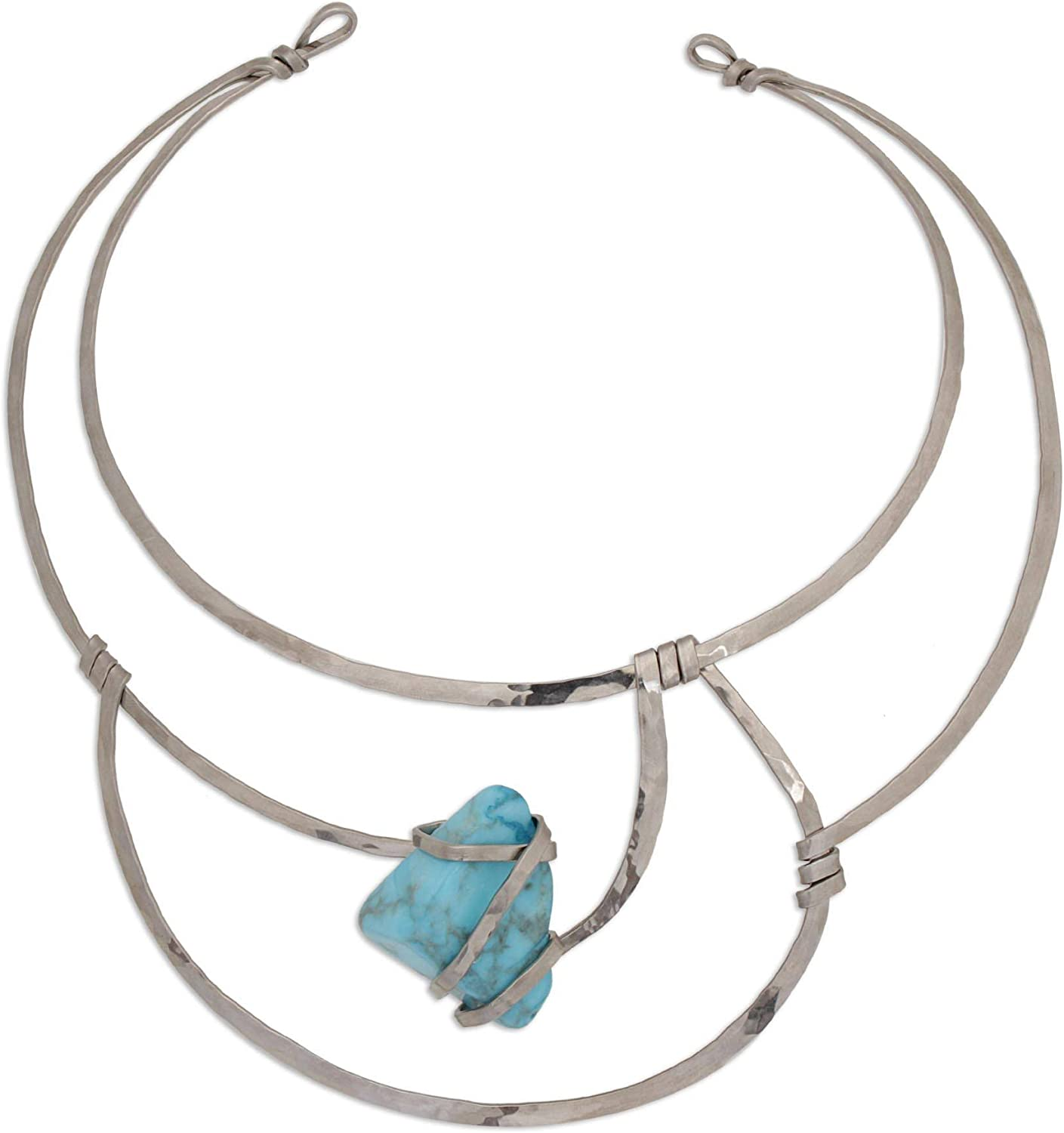 NOVICA Howlite Stainless Steel Collar Necklace, 13.75
