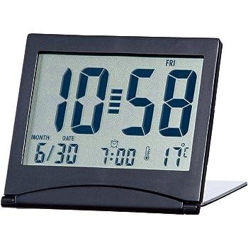 ADESSO(アデッソ) 目覚まし時計 大画面スリムクロック 温度 日付表示 ブラック KH-01