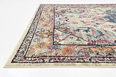 Unique Loom Medici Collection Light Colors Medallion Traditional Beige Area Rug (7' 0 x 10' 0)