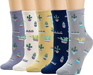 Womens Socks Cactus Crew Socks Gifts Cotton Long Funny Socks for Women Novelty Funky Cute Cartoon Socks 5 Pairs WCS1-Cactus