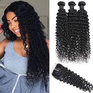 Deep Wave Brazilian Human Hair Bundles with Closure (18