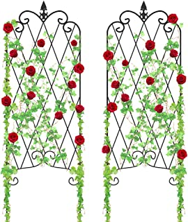 "Amagabeli Garden Trellis for Climbing Plants 46"" x 16"" Rustproof Black Iron Potted Vines Vegetables Flowers Patio Metal Wire Lattices Grid Panels for Ivy Roses Cucumbers Clematis Pots Supports 2 Pack"