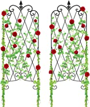 """Amagabeli Garden Trellis for Climbing Plants 46"""" x 16"""" Rustproof Black Iron Potted Vines Vegetables Flowers Patio Metal Wire Lattices Grid Panels for Ivy Roses Cucumbers Clematis Pots Supports 2 Pack"""