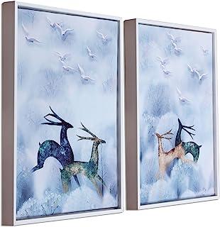 Art Street White & Blue Running Deer Framed Canvas Painting Set of 2 Wall Art Print -13x17 inch
