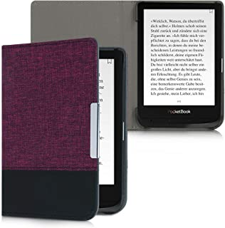 kwmobile Case for Pocketbook Touch Lux 4/Basic Lux 2/Touch HD 3 - PU Leather and Canvas Protective e-Reader Cover Folio Case - Violet/Black