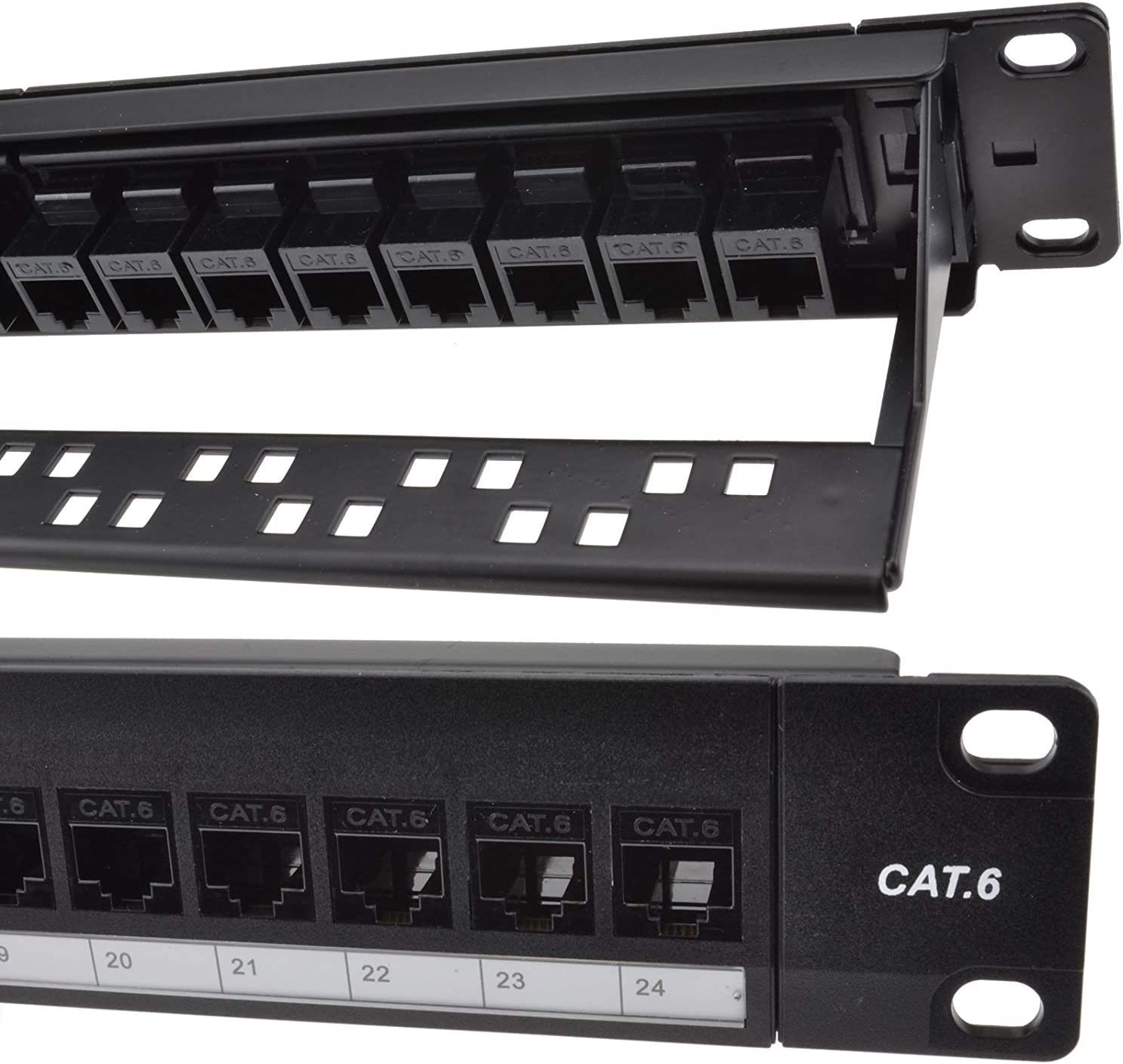 Detroit Packing Co. 24 Port CAT6 RJ45 Through Coupler Patch Panel with Back Bar, Wallmount or Rackmount, Compatible with Cat5, Cat5e, Cat6, Cat6A, UTP STP Cabling (CAT6 UnShielded, 24-Port)