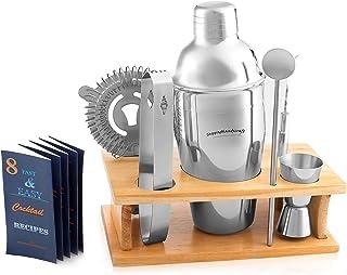 Cocktail Shaker Martini Shaker Set - Bartender Kit : Drink Shaker, Jigger, Drink Mixing Spoon, Strainer, Ice thong, Bottle...