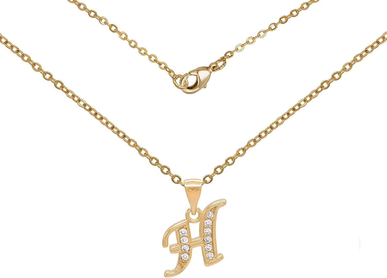 BEBERLINI Initial Max 84% Price reduction OFF Letter Pendant with Gold Fi Cubic Zirconia 18K