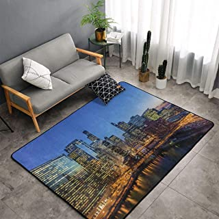 Area Rug, Doormat Floor Mat Nursery Rugs, Children Play Rug Carpet Bath Mat, USA Chicago Skyline Night View Throw Rugs Runner Exercise Mat, Indoor Outdoor Entryway Rug