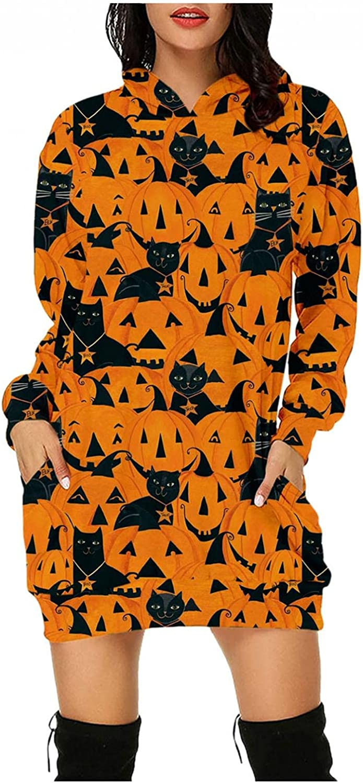 Plus Size Halloween Dress for Women Skulls Pumpkin Print Casual Pullover Hoodie Dress Long Sleeve Jumper Dress