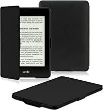 OMOTON Kindle Paperwhite Case Cover - The Thinnest Lightest PU Leather Smart Cover Kindle Paperwhite fits All Paperwhite Generations Prior to 2018 (Will not fit All New Paperwhite 10th Gen), Black