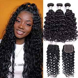 Alibeauty Brazilian Water Wave Bundles with Closure 9A Unprocessed Virgin Human Hair Weave 3 Bundles with Closure Natural Black Remy Hair Extensions (14 16 18+12inch)